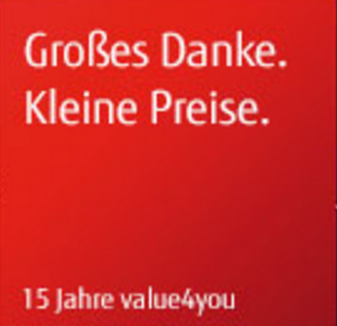 gro es danke kleine preise 15 jahre value4you oberberg online informationssysteme gmbh. Black Bedroom Furniture Sets. Home Design Ideas